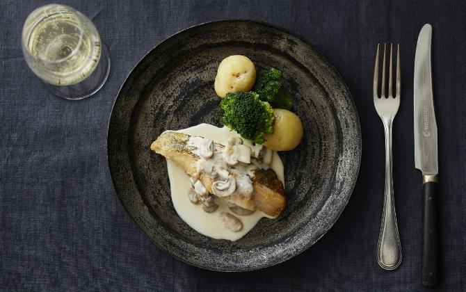 KONNO'S RECIPE 鱈のポワレ 白ワインマッシュルームソース