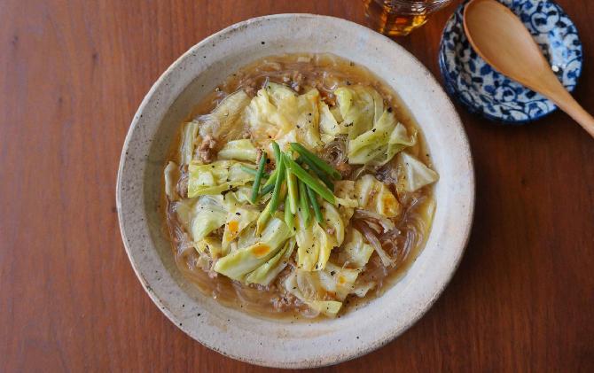 楠さん家の 春キャベツと豚ひき肉のサンラータン風炒め