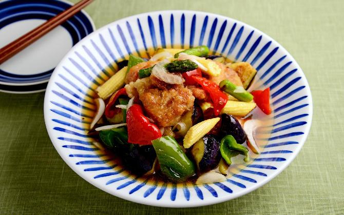 鶏竜田と野菜のだしポン酢浸し